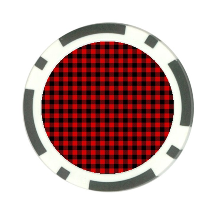 Lumberjack Plaid Fabric Pattern Red Black Poker Chip Card Guards