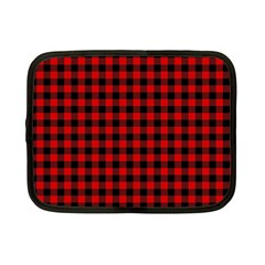 Lumberjack Plaid Fabric Pattern Red Black Netbook Case (small)  by EDDArt