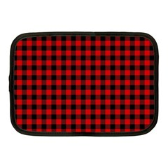 Lumberjack Plaid Fabric Pattern Red Black Netbook Case (medium)
