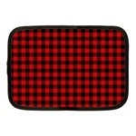 Lumberjack Plaid Fabric Pattern Red Black Netbook Case (Medium)  Front