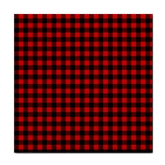 Lumberjack Plaid Fabric Pattern Red Black Face Towel by EDDArt