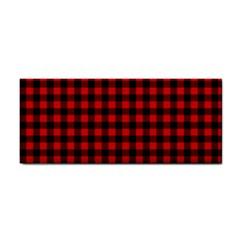 Lumberjack Plaid Fabric Pattern Red Black Hand Towel