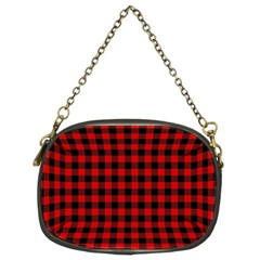 Lumberjack Plaid Fabric Pattern Red Black Chain Purses (two Sides)  by EDDArt