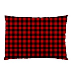 Lumberjack Plaid Fabric Pattern Red Black Pillow Case by EDDArt
