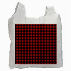 Lumberjack Plaid Fabric Pattern Red Black Recycle Bag (two Side)  by EDDArt