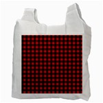 Lumberjack Plaid Fabric Pattern Red Black Recycle Bag (Two Side)  Back