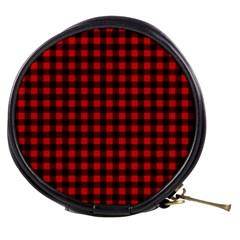 Lumberjack Plaid Fabric Pattern Red Black Mini Makeup Bags