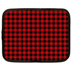 Lumberjack Plaid Fabric Pattern Red Black Netbook Case (XXL)