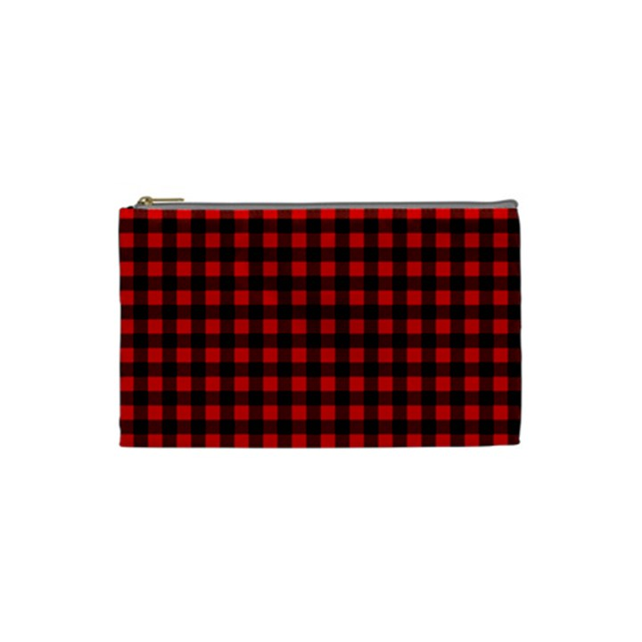 Lumberjack Plaid Fabric Pattern Red Black Cosmetic Bag (Small)