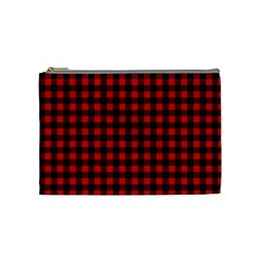 Lumberjack Plaid Fabric Pattern Red Black Cosmetic Bag (medium)  by EDDArt