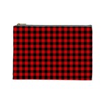 Lumberjack Plaid Fabric Pattern Red Black Cosmetic Bag (Large)  Front