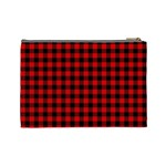 Lumberjack Plaid Fabric Pattern Red Black Cosmetic Bag (Large)  Back