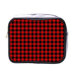 Lumberjack Plaid Fabric Pattern Red Black Mini Toiletries Bags