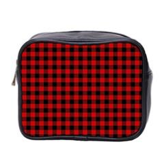Lumberjack Plaid Fabric Pattern Red Black Mini Toiletries Bag 2 Side