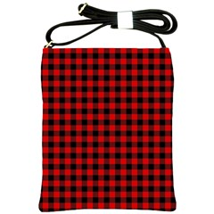 Lumberjack Plaid Fabric Pattern Red Black Shoulder Sling Bags by EDDArt