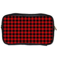 Lumberjack Plaid Fabric Pattern Red Black Toiletries Bags 2 Side by EDDArt