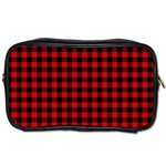 Lumberjack Plaid Fabric Pattern Red Black Toiletries Bags 2-Side Front