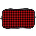 Lumberjack Plaid Fabric Pattern Red Black Toiletries Bags 2-Side Back