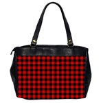 Lumberjack Plaid Fabric Pattern Red Black Office Handbags (2 Sides)  Back