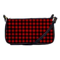 Lumberjack Plaid Fabric Pattern Red Black Shoulder Clutch Bags by EDDArt