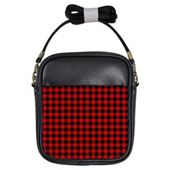Lumberjack Plaid Fabric Pattern Red Black Girls Sling Bags