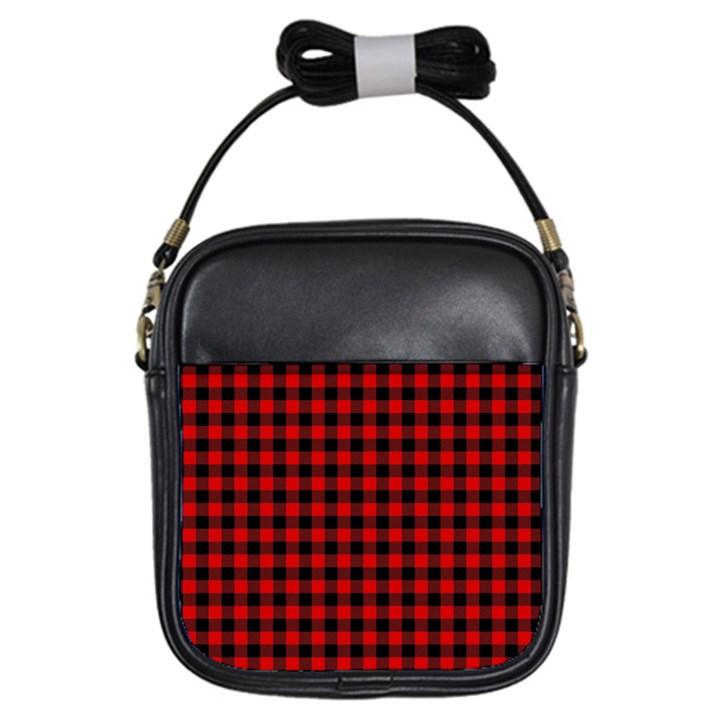 Lumberjack Plaid Fabric Pattern Red Black Girls Sling Bags