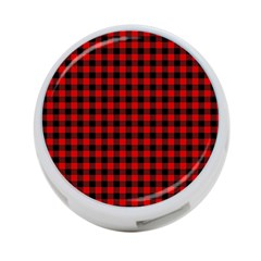 Lumberjack Plaid Fabric Pattern Red Black 4 Port Usb Hub (one Side) by EDDArt