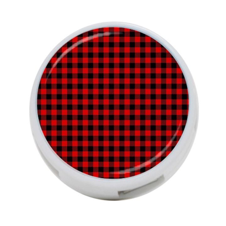 Lumberjack Plaid Fabric Pattern Red Black 4-Port USB Hub (One Side)
