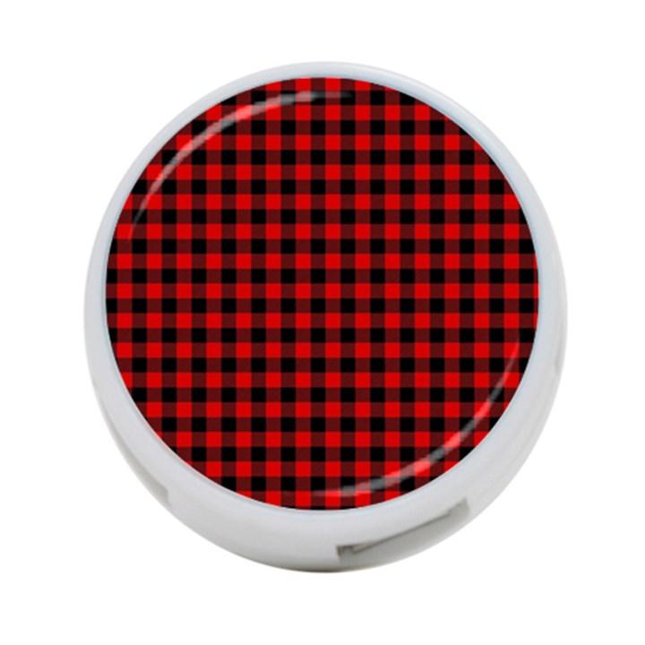 Lumberjack Plaid Fabric Pattern Red Black 4-Port USB Hub (Two Sides)