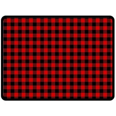 Lumberjack Plaid Fabric Pattern Red Black Fleece Blanket (large)  by EDDArt