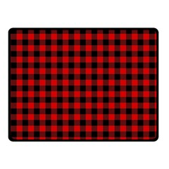 Lumberjack Plaid Fabric Pattern Red Black Fleece Blanket (small) by EDDArt