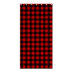 Lumberjack Plaid Fabric Pattern Red Black Shower Curtain 36  X 72  (stall)  by EDDArt