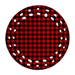 Lumberjack Plaid Fabric Pattern Red Black Ornament (round Filigree)  by EDDArt