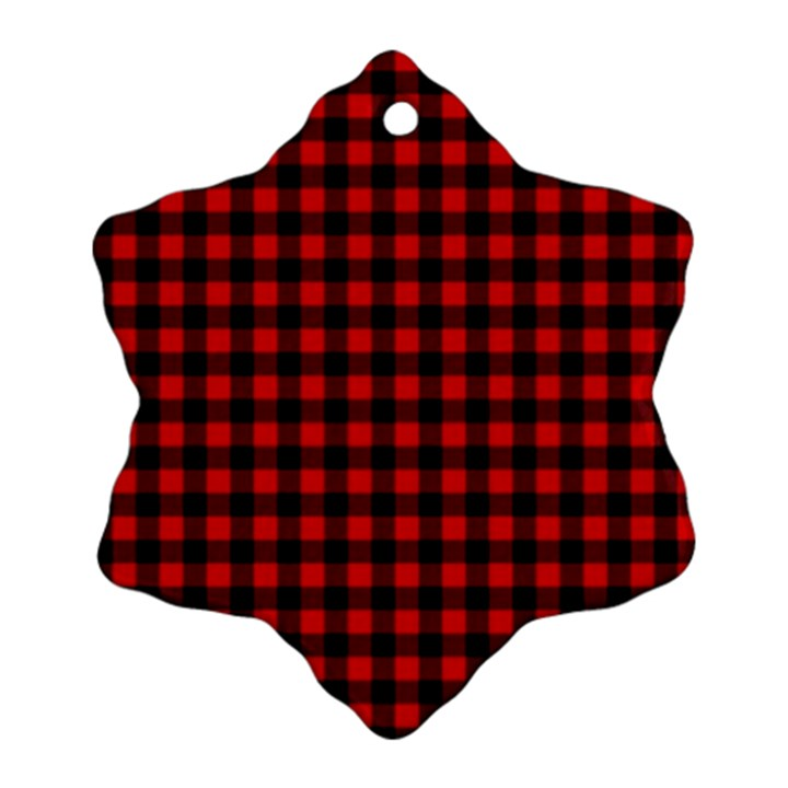 Lumberjack Plaid Fabric Pattern Red Black Ornament (Snowflake)