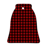 Lumberjack Plaid Fabric Pattern Red Black Ornament (Bell)  Front