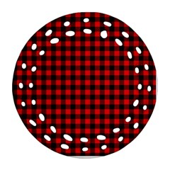 Lumberjack Plaid Fabric Pattern Red Black Round Filigree Ornament (2side) by EDDArt
