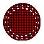 Lumberjack Plaid Fabric Pattern Red Black Round Filigree Ornament (2Side)