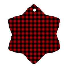 Lumberjack Plaid Fabric Pattern Red Black Snowflake Ornament (2 Side)