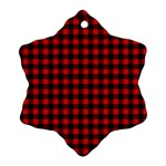 Lumberjack Plaid Fabric Pattern Red Black Snowflake Ornament (2-Side) Back
