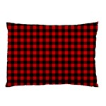 Lumberjack Plaid Fabric Pattern Red Black Pillow Case (Two Sides) Back