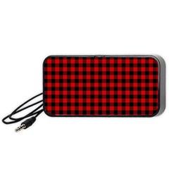 Lumberjack Plaid Fabric Pattern Red Black Portable Speaker (black)  by EDDArt