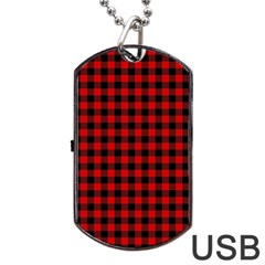 Lumberjack Plaid Fabric Pattern Red Black Dog Tag Usb Flash (one Side) by EDDArt
