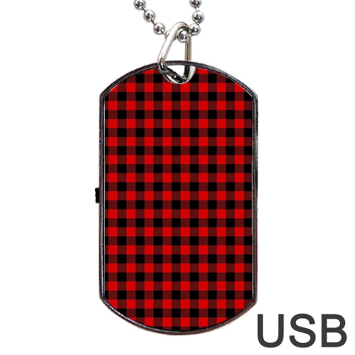 Lumberjack Plaid Fabric Pattern Red Black Dog Tag USB Flash (Two Sides)