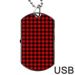 Lumberjack Plaid Fabric Pattern Red Black Dog Tag USB Flash (Two Sides)  Back