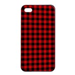Lumberjack Plaid Fabric Pattern Red Black Apple iPhone 4/4s Seamless Case (Black) Front