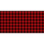 Lumberjack Plaid Fabric Pattern Red Black Twin Heart Bottom 3D Greeting Card (8x4) Back
