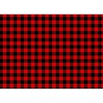 Lumberjack Plaid Fabric Pattern Red Black LOVE Bottom 3D Greeting Card (7x5) Front