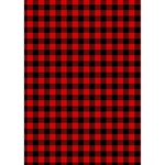 Lumberjack Plaid Fabric Pattern Red Black LOVE Bottom 3D Greeting Card (7x5) Inside