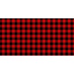 Lumberjack Plaid Fabric Pattern Red Black Happy New Year 3D Greeting Card (8x4) Front