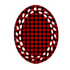 Lumberjack Plaid Fabric Pattern Red Black Ornament (oval Filigree)  by EDDArt